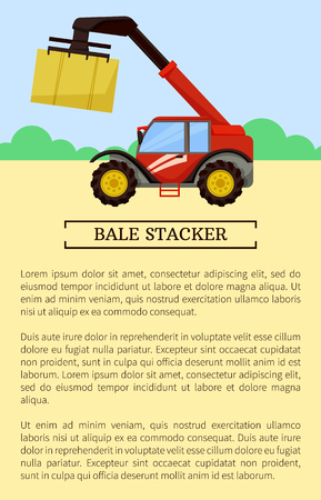 Bale stacker baler poster with text sample. Device with crane holding cube made of hay, Compression and storage of dry grass. Agro machinery vector