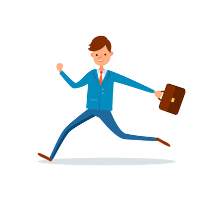 Businessman running at work with briefcase in hand. Man in hurry, boss late at office, manager with case. Employee hurrying up, rush time for worker Illustration