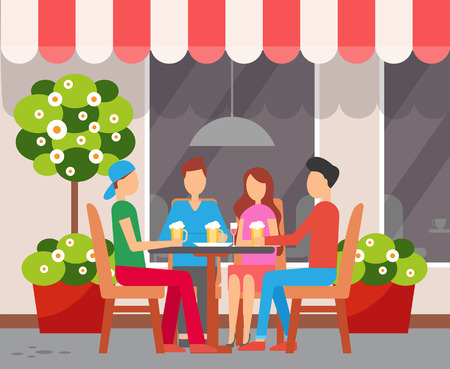 Cafe facade, friends drinking beer and wine at table outdoors vector.