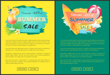 Summer sale web posters cocktail and surfboard, inflatable ball and starfish, palm leaves and flowers. Vector promo leaflets with summertime attributes