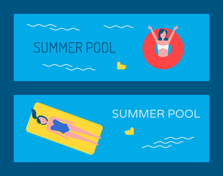 Swimming pool vector banner with people bathing.