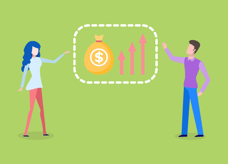 Man and woman analyzing financial chart, bag of money with dollar sign isolated . Vector grown charts and arrows, presentation and planning concept