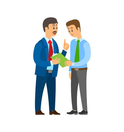 Líder de la empresa jefe hablando con vector de traje de hombre de trabajador de oficina. Personas discutiendo ideas de negocios y planificación estratégica. Portapapeles con páginas