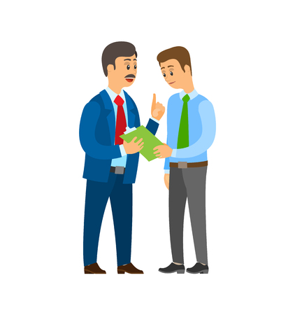 Boss company leader talking to office worker man wearing suit vector. People discussing business ideas and strategy planning. Clipboard with pages
