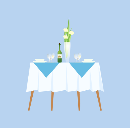 Restaurant elegant interior, decoration of desk vector. Blooming in vase, empty plates and bottle of champagne to celebrate special occasion food  イラスト・ベクター素材