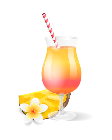 Cocktail glass with pineapple isolated icon vector. Beverage served with fruit slice and tropical plant in bloom. Exotic flower and drink with straw Ilustração