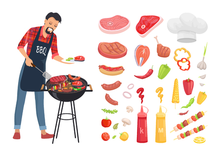 BBQ serving man and isolated icons set vector. Grille grid with roasting meat, beef and pork skewers. Vegetables and sauces, chef hat and brochettes