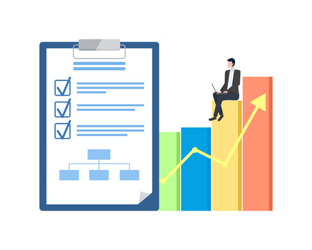Business plan and statistical chart, entrepreneur with laptop vector. Notepad with check marks and scheme, businessman sitting on graphic and growth arrow