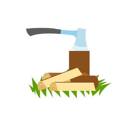 Traveling and camping, ax in stump and firewood vector. Woods and cutting tool, forestry and hiking, campfire or bonfire materials isolated object  イラスト・ベクター素材
