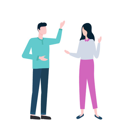 Entrepreneurs discussing business isolated vector icon. Man and woman, colleagues or businessman and businesswoman, office workers or coworkers talk