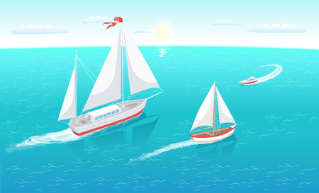 Sail boats with white canvas sailing in deep blue waters and leave trace vector illustration at seascape. Modern yacht marine nautical personal ships Illustration