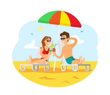 Couple relaxing by seaside together vector, summer vacation of people. Man and woman drinking cocktail laying under colorful umbrella on chaise longue