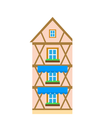 Building with planks and wooden elements vector, isolated icon of building.