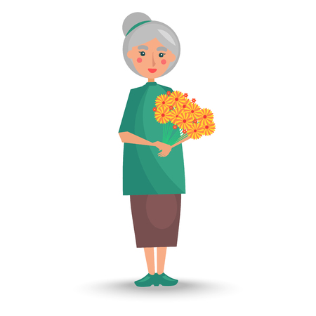 Old woman with grey hair in green tunic and long skirt stand and holds big bouquet of yellow flowers vector illustration. 矢量图像