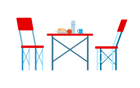 Traveling dishware on red table, couple of chairs, side view of picnic place. Archivio Fotografico - 118113472