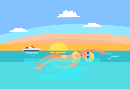 Backstroke swimming expert female vector. Sunrise and professional woman in sea water. Ship transport floating in distance, sport and morning workout