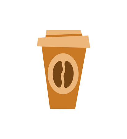 Coffee poured in plastic cap vector, take out beverage isolated icon. Espresso morning drink, cappuccino served in bistro, mug hot caffeine closeup
