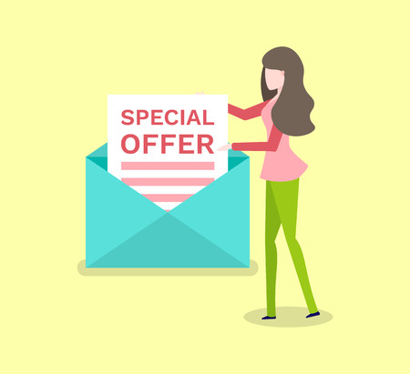 Special offer paper in envelope and woman isolated. Vector cartoon girl send message with promo proposal, mail and brunette female, shopping concept