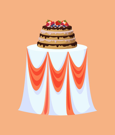 Restaurant table decorated for wedding celebration vector. Cake with fruits and berries, blueberry and strawberry, raspberries and chocolate topping