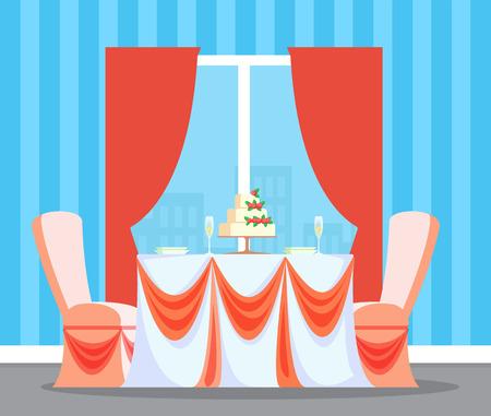 Innenraum des Restaurants mit Tisch- und Hochzeitstortevektor.