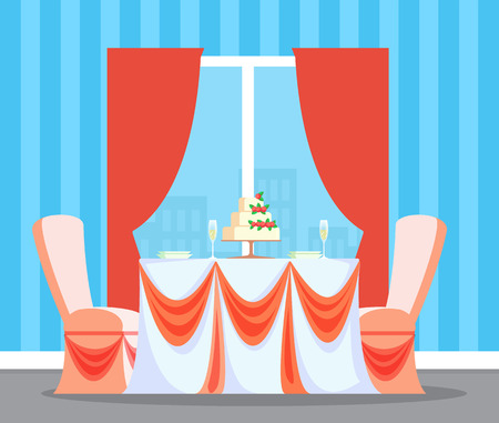 Interior of restaurant with table and wedding cake vector.