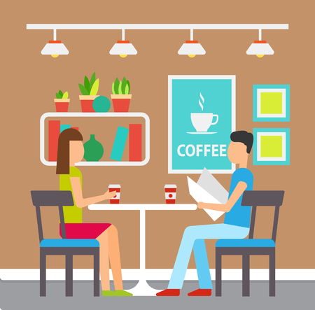 Man and woman drinking coffee in a coffeehouse vector. Man reading menu with desserts and drinks. Interior of place, shelves and pictures on wall