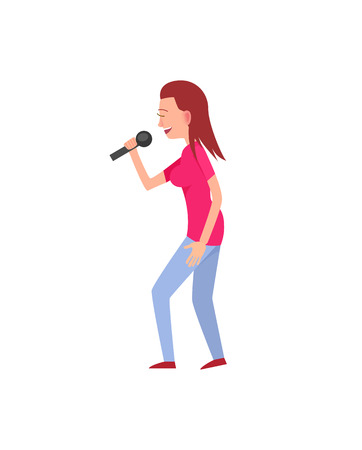 Woman in casual clothes singing song with microphone. Flat character, solo concert, side view of standing artist, musical performance of girl vector