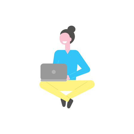 Woman working with laptop vector isolated cartoon person. Girl sits with notebook, campus student isolated cartoon character. Attractive college learner on white
