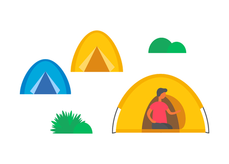 Camping city, camps and green grass or bushes isolated. Male person in tent vector character. Shelters at summertime, camping outdoor dwelling and tourist
