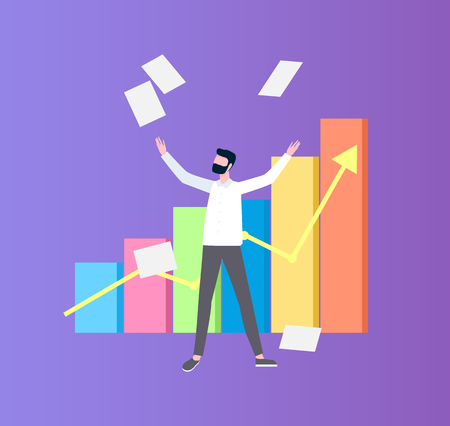 Man throwing up papers near colorful flowchart with arrow, success scheme and growth statistics on diagram. Person with project and strategy vector Illustration