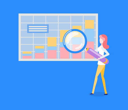 Woman with magnifier and statistical chart or graphic vector. Analytics and statistics, business research and market investigation, businesswoman