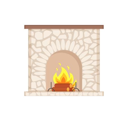 Feu de joie de luxe, flamme et bûches, meuble d'intérieur à la maison. Cheminée en pierre avec des bois de chauffage brûlants, icône isolée de vecteur de foyer de feu de joie de granit Vecteurs
