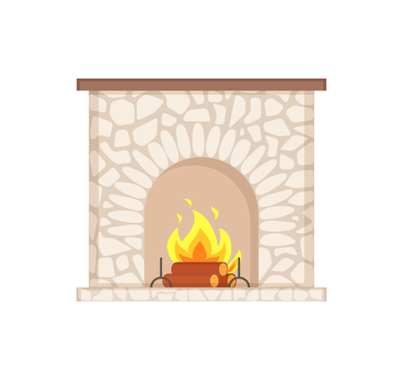 Luxury bonfire, flame and logs, home interior furniture piece. Stone fireplace with burning firewoods, granite bonfire hearth vector isolated icon