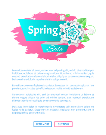 Spring sale and discount web page with colorful flower. Holiday bright website with decoration of blossom and links read more and buy now vector poster