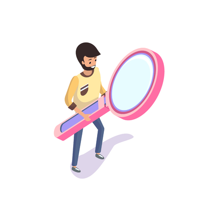 Businessman with magnifying glass on hands vector. Person searching for data, zooming and scrutinizing issue. Business process, male working with tool Çizim