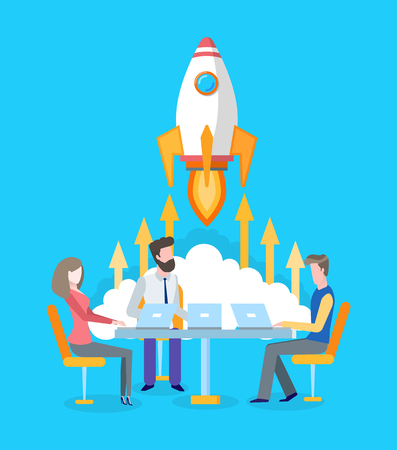 Spaceship or rocket start, team developing startup vector. Brainstorming and project development, workers or developers at laptops, teamwork and spacecraft Illustration
