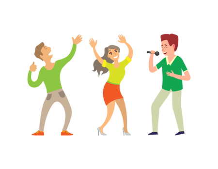 Music singer and people dancing in club isolated vector. Male and female couple, vocalist holding microphone, young clubbers male and female partying Illustration