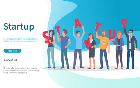 Working people, startup launching vector. Successful workers, employees with big letters, business project workforce smiling, success achievement. Website or webpage template, landing page flat style
