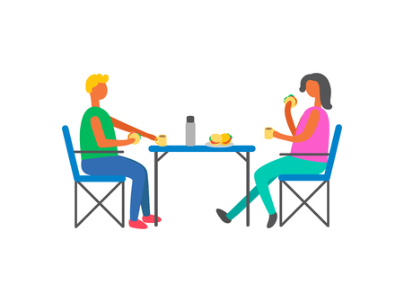 Happy couple on picnic sitting on chairs at table. Man and woman drinking tea with hamburgers, male and female having snack isolated on white, vector people Illustration