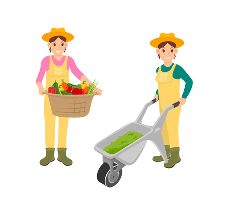 Woman with farming basket vector. Container full of vegetables, carrot and peppers fresh veggies. Farmer and compost in carriage trolley with wheel Illustration