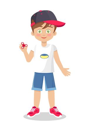 Brillante illustrazione vettoriale di un ragazzino con una trottola vestita di t-shirt estiva, pantaloncini di jeans, scarpe da ginnastica rosse e berretto
