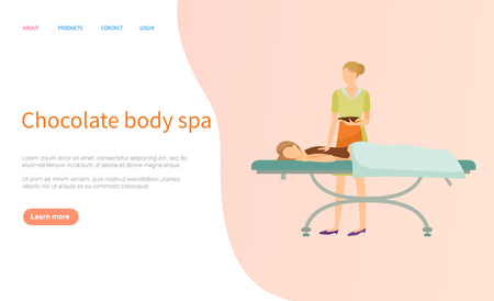 Chocolate body spa vector, beautician and client on table. Beauty salon master with bowl of cosmetic means and woman on procedure desk covered by towel. Website or webpage template, landing page flat style