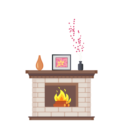 Fireplace with framed photo on wooden shelf isolated icon vector. Decoration of home, flowers and floral decor places in vase. Picture and flowers Foto de archivo - 124899807