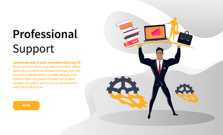 Business professional support online web page vector. Strong businessman in suit holding books and laptop with briefcase, cogwheels, cooperation and help Reklamní fotografie - 124899808