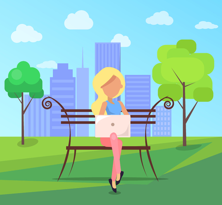 Woman sitting on bench in city park on  of skyscrapers with modern laptop in free wi-fi zone Illustration