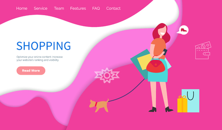 Shopping optimize online content. Increase website s ranking and visibility. Helps companies in the professional content and creatives concept vector. Website or webpage template, landing page flat