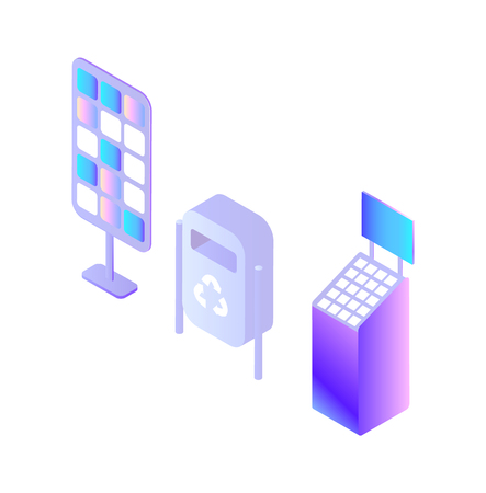 Container for garbage bin, electro charging station, digital devices set isolated icons set vector. Isometric 3d, disposal recycling, stand with touch screen and monitor