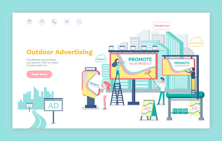 Outdoor advertising vector, website or webpage template, landing page flat style. Billboard with information , banner and boards, bus stop with ads Illustration