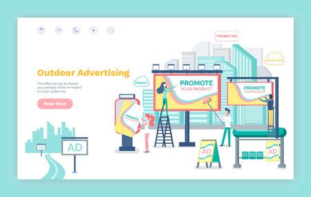Wektor reklamy zewnętrznej, szablon strony internetowej lub strony internetowej, płaski styl strony docelowej. Billboard z informacją, baner i tablice, przystanek autobusowy z reklamami