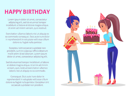 Happy Birthday greeting card, male with gift box and female with festive cake.